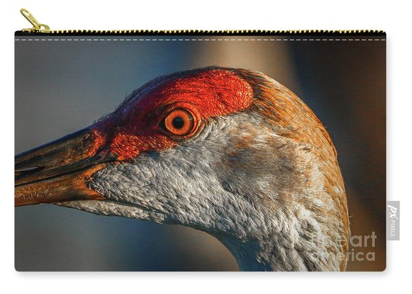 Carry-all Pouch featuring the photograph Sandhill Close Up Portrait by Tom Claud
