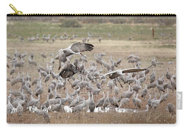 Carry-all Pouch featuring the photograph Sandhill Cranes Gather by Jean Clark