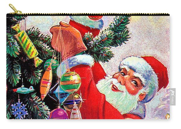 Santa Claus Decorate Christmas Tree Carry-all Pouch