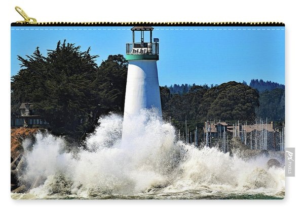 Santa Cruz Lighthouse And Crashing Waves Carry-all Pouch