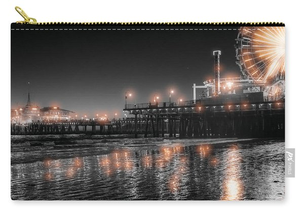 Carry-all Pouch featuring the photograph Santa Monica Glow By Mike-hope by Michael Hope