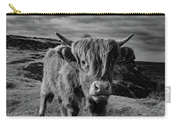 Carry-all Pouch featuring the photograph Saying Hello To A Highland Cow At Baslow Edge Black And White by Scott Lyons