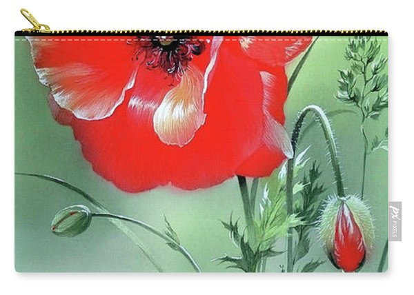 Scarlet Poppy Flower Carry-all Pouch