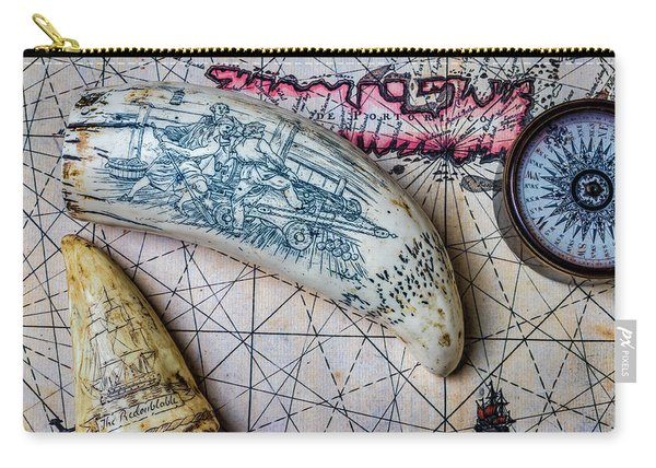 Scrimshaw On Old Map Carry-all Pouch