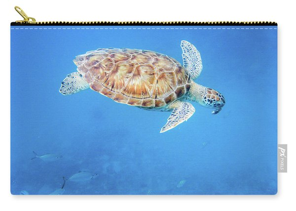 Sea Turtle And Fish Swimming Carry-all Pouch