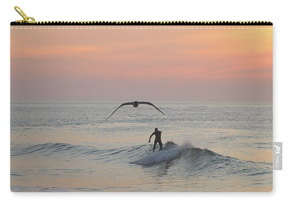 Seagull And A Surfer Carry-all Pouch