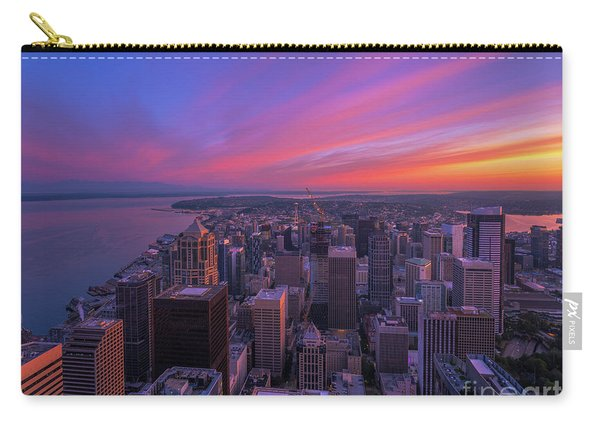 Seattle Cityscape Sunrise From Above Carry-all Pouch