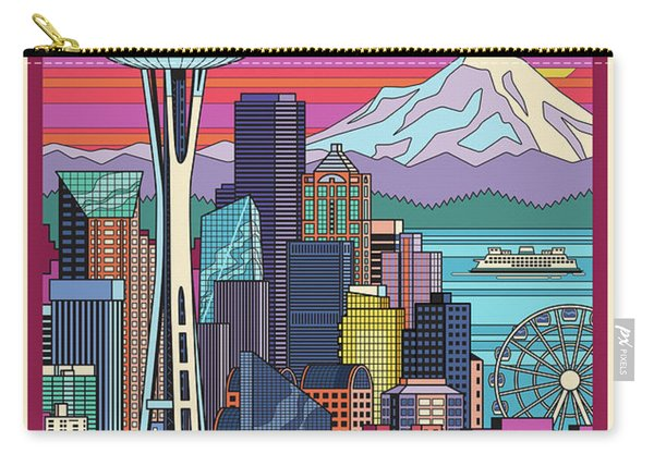 Seattle Poster - Pop Art Skyline Carry-all Pouch