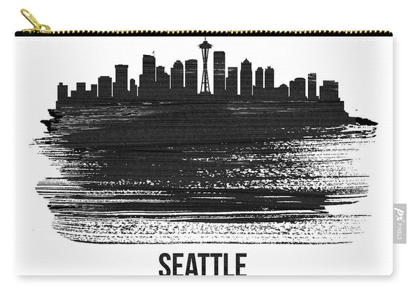 Seattle Skyline Brush Stroke White Carry-all Pouch