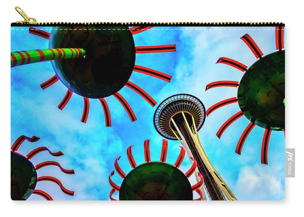Seattle Space Needle And Flower Sculptures Carry-all Pouch