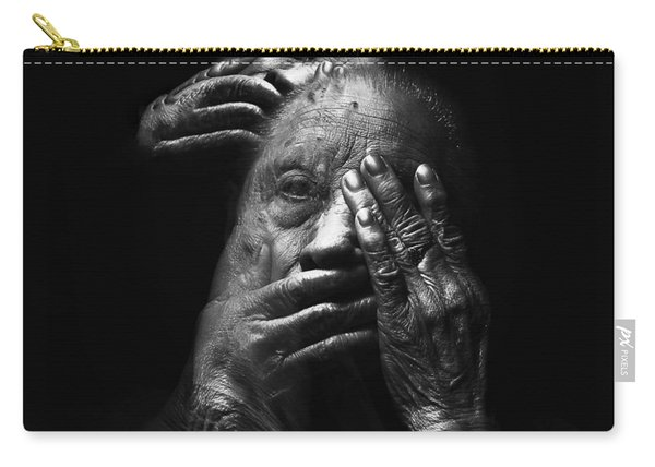 Carry-all Pouch featuring the digital art See No Evil Hear No Evil Speak No Evil by ISAW Company
