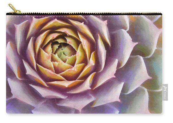 Sempervivum Succulent Square Painterly Look Carry-all Pouch