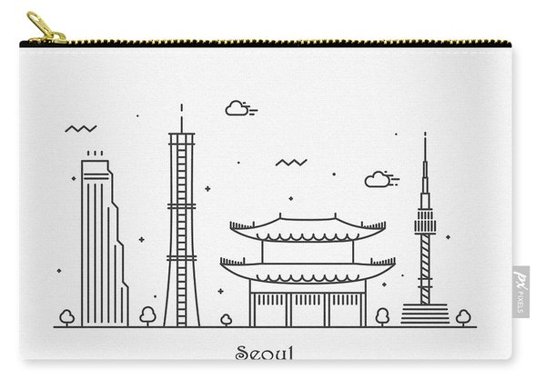 Seoul Cityscape Travel Poster Carry-all Pouch