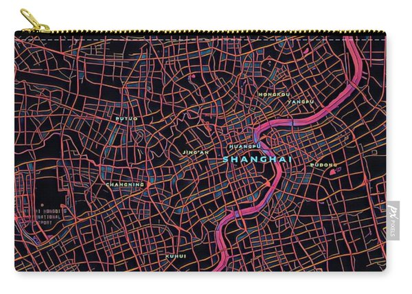 Shanghai City Map Carry-all Pouch