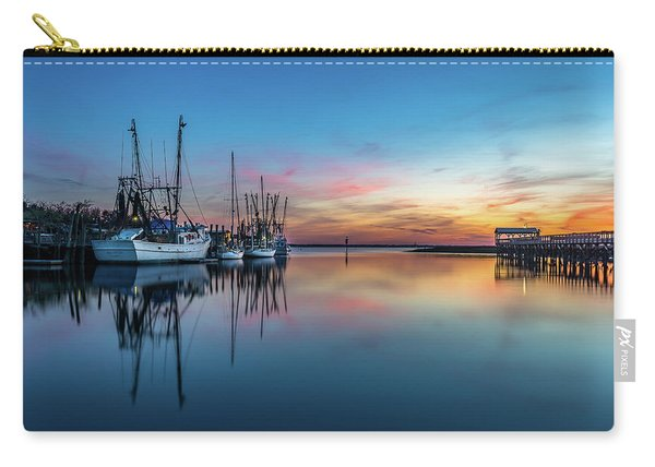 Carry-all Pouch featuring the photograph Shem Creek Blue Hour, Mt. Pleasant Sc by Donnie Whitaker