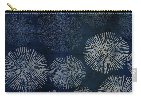Shibori Sea Urchin Burst Pattern Dark Denim Carry-all Pouch