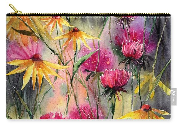 Shiny Rudbeckia And Thistle Carry-all Pouch