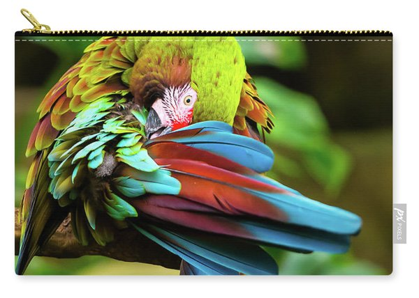 Carry-all Pouch featuring the photograph Shy Parrot by Dheeraj Mutha