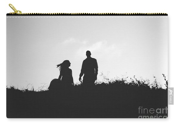 Silhouette Of Couple In Love With Wedding Couple On Top Of A Hil Carry-all Pouch