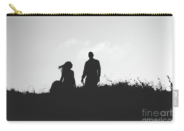 Silhouette Of Couple In Love With Wedding Couple On Top Of A Hill Carry-all Pouch