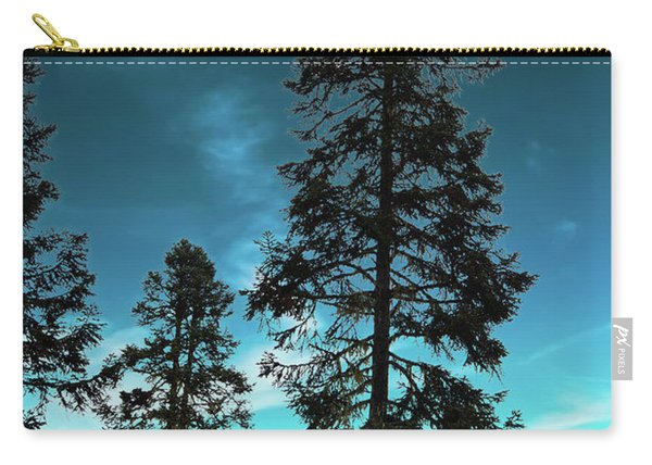 Silhouette Of Tall Conifers In Autumn Carry-all Pouch