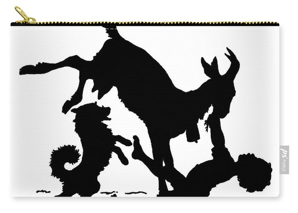 Silhouette With A Boy, Goat And A Dog By Paul Konewka Carry-all Pouch