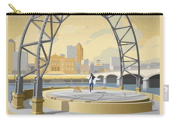 Carry-all Pouch featuring the drawing Simon Estes Amphitheater by Clint Hansen