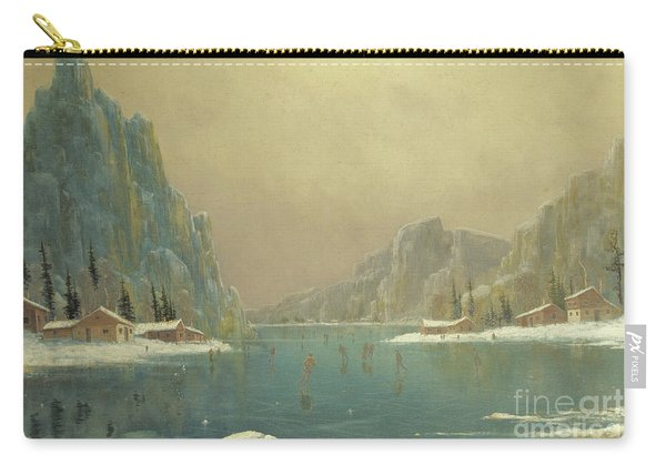 Skaters On A Lake, 19th Century Carry-all Pouch