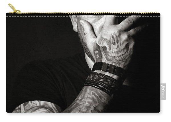 Skull Tattoo On Hand Covering Face Carry-all Pouch