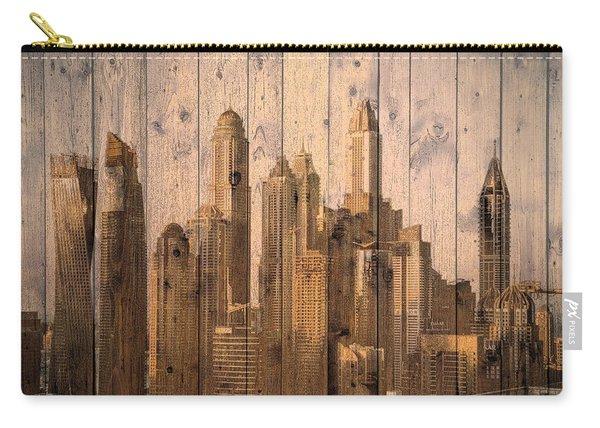 Skyline Of Dubai, Uae On Wood Carry-all Pouch