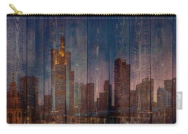 Skyline Of Frankfurt, Germany On Wood Carry-all Pouch