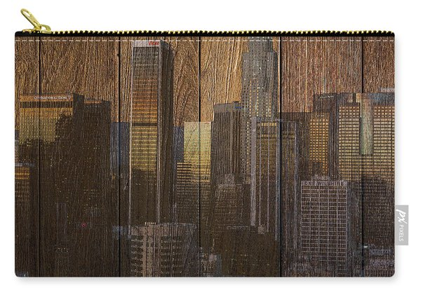 Skyline Of Los Angeles, Usa On Wood Carry-all Pouch