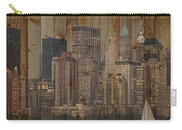 Skyline Of New York, Usa On Wood Carry-all Pouch