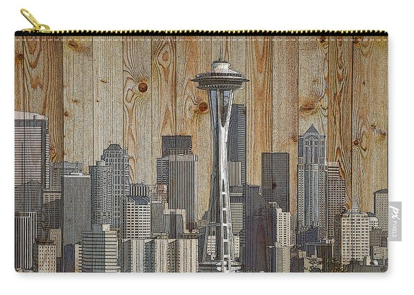 Skyline Of Seattle, Usa On Wood Carry-all Pouch