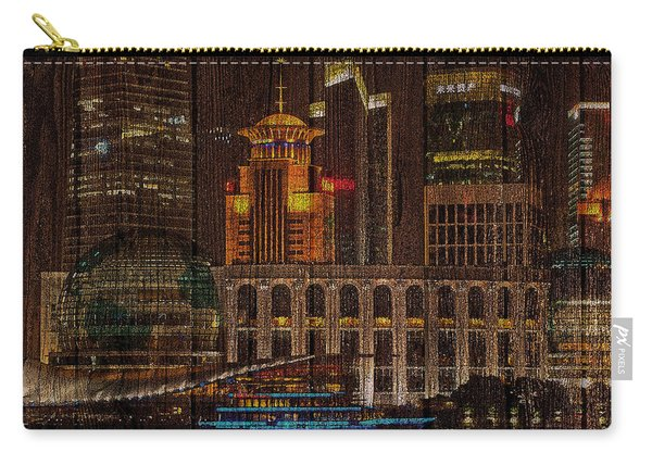Skyline Of Shanghai, China On Wood Carry-all Pouch