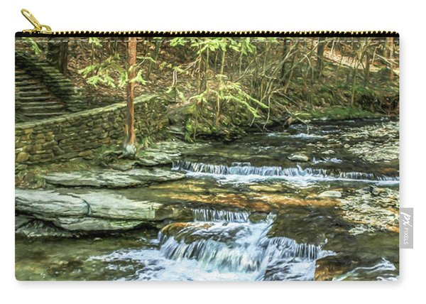 Small Waterfall In Creek And Stone Stairs Carry-all Pouch