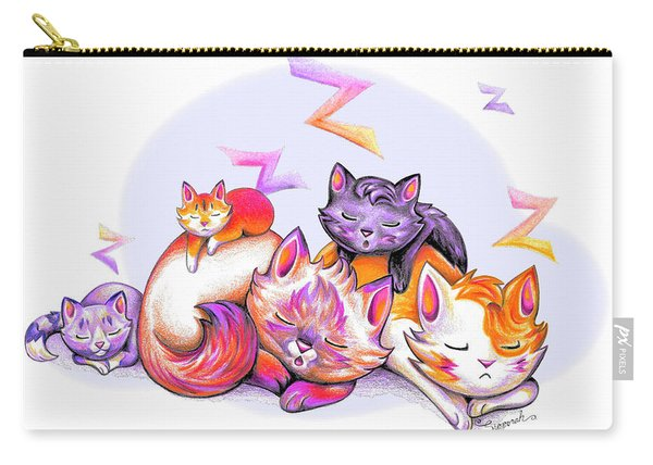 Snoozing Cartoon Kitties Carry-all Pouch
