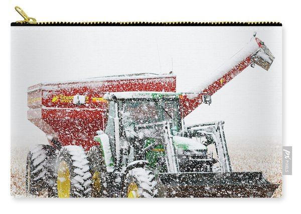 Carry-all Pouch featuring the photograph Snow And Tractor 02 by Rob Graham