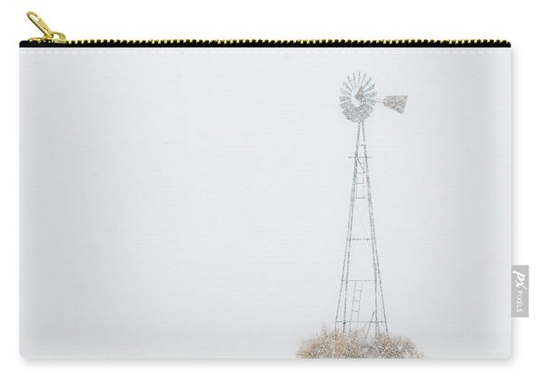 Carry-all Pouch featuring the photograph Snow And Windmill 02 by Rob Graham