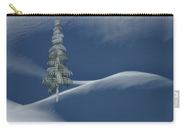 Snow Covered Tree And Mountains Color Carry-all Pouch