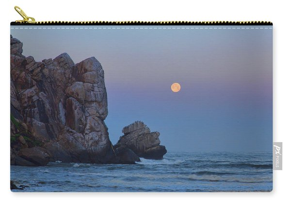 Snow Moon And Morro Rock Carry-all Pouch