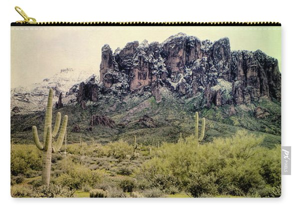Snow On The Superstition Mountains Carry-all Pouch