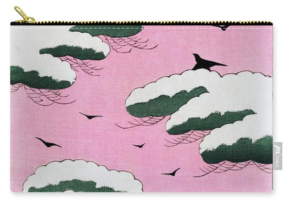Snow Pine And Crows - Japanese Traditional Pattern Design Carry-all Pouch