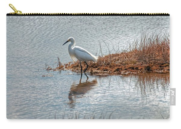 Snowy Egret Hunting A Salt Marsh Carry-all Pouch