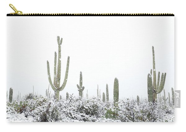 Carry-all Pouch featuring the photograph Snowy Saguaro Cactus by Jean Clark