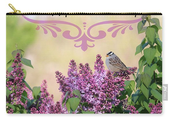 Sparrow In Lilacs Birthday Card Carry-all Pouch