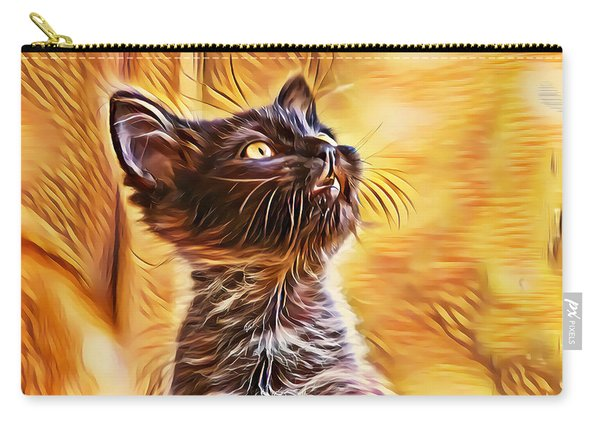 Carry-all Pouch featuring the digital art Special Long Neck Kitty by Don Northup
