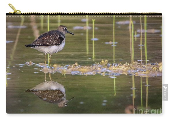 Carry-all Pouch featuring the photograph Spotted Sandpiper Reflection by Tom Claud