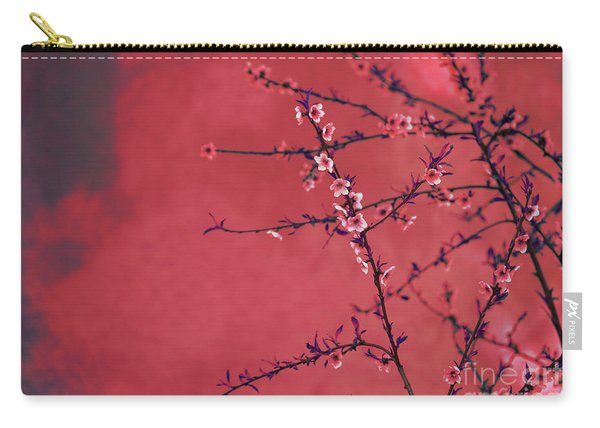 Spring Blossom Border Over Red Arty Textured Background. Chinese Carry-all Pouch