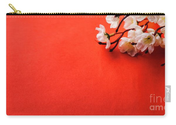 Spring Blossom Border Over Red Background With Copyspace. Chines Carry-all Pouch
